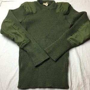 Wool Pullover Green Sweater Heavy Cable Knit Sz 40